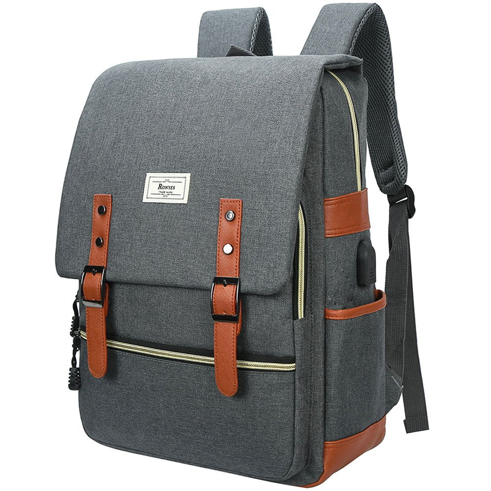 Unisex College Bag Fits up to 15.6'' Laptop Casual Rucksack Waterproof School Backpack Daypacks (Gray) by Ronyes