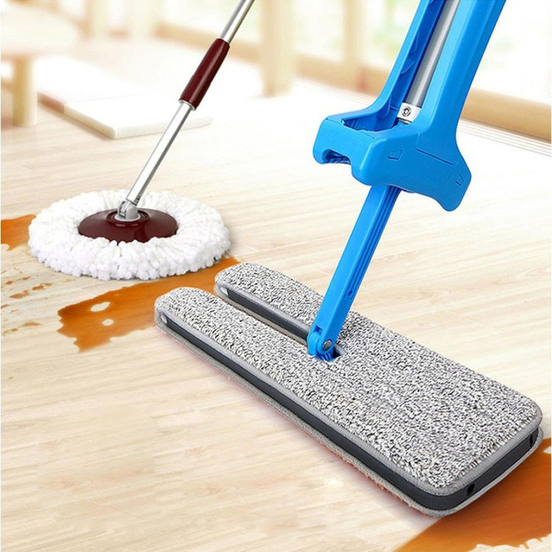 Sandistore Double Sided Microfiber Lazy Flat Mop, Easy Self Wringing Wet and Dry Clean Mop for Corner, Bathroom, Kitchen, Tile and Hardwood Floor Silver (14 x 4inches) (Blue) by Sandistore (Image #4)