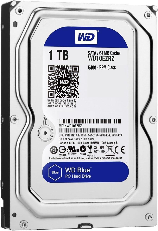 """Western Digital 1TB WD Blue PC Hard Drive - 5400 RPM Class, SATA 6 Gb/s, , 64 MB Cache, 3.5"""" - WD10EZRZ (Old Version)"""
