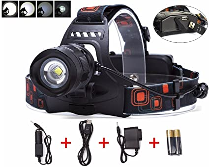 Amazon.com: LED Faro/Linterna frontal para la caza/pesca ...