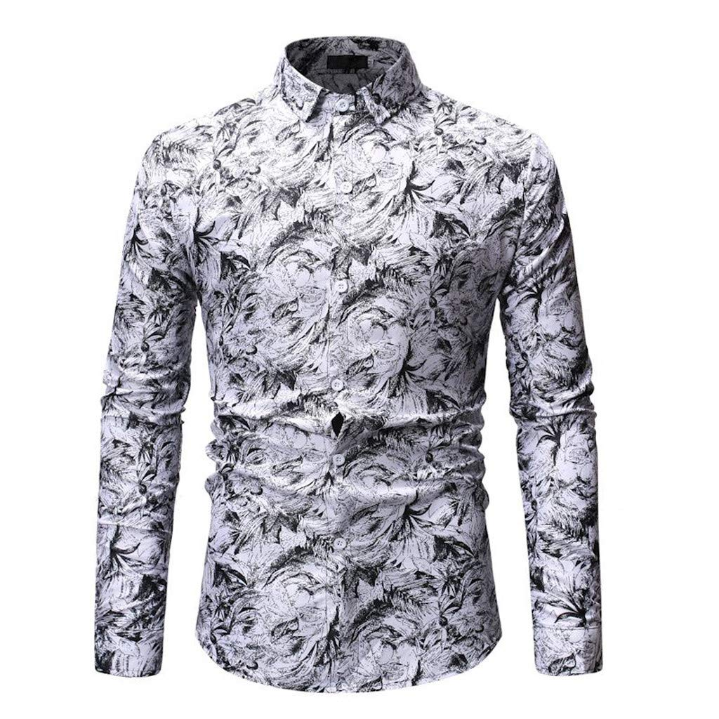 UJUNAOR Camicia Uomo Slim Fit Manica Lunga con Bottoni Elegante Stampa Floreale Casual Moda 2019 Nuovo M//L//XL//2XL//3XL//4XL