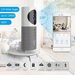 Clever Dog Wifi Security Camera HD 960P with Wide Angle, Two-way Audio, SD Card Alarm Recording, Cloud Storage, AI Motion Alerts with IPhone, Android Smartphone Apps
