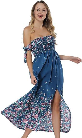 Womens Summer Sleeveless Floral Beach Dress Ladies Strapless Sundress Size 8-20
