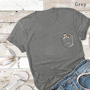 D-X Americana Creativa Simple Camiseta de Mujer Verano Algodón ...