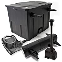 WilTec-Kit de filtrado de Estanque Bio 12000l Filtro UVC 36 w 115W Bomba ecológica diseño de Fuente