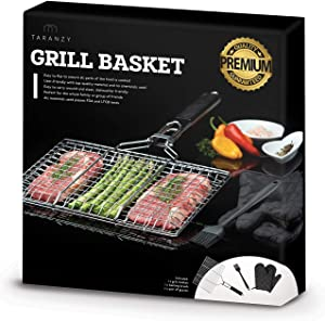 Taranzy Stainless Steel Grilling Basket - Portable and Durable Grill Basket - Removable Wooden Handle - Perfect for Fish, Meat, Chicken, Vegetables, Steak and More 【Bonus BBQ Gloves, Brush and E-Book】