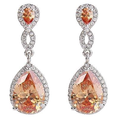 EVER FAITH Zircon Austrian Crystal Wedding 8-Shape Pierced Dangle Earrings Clear Silver-Tone fuDZF8fc
