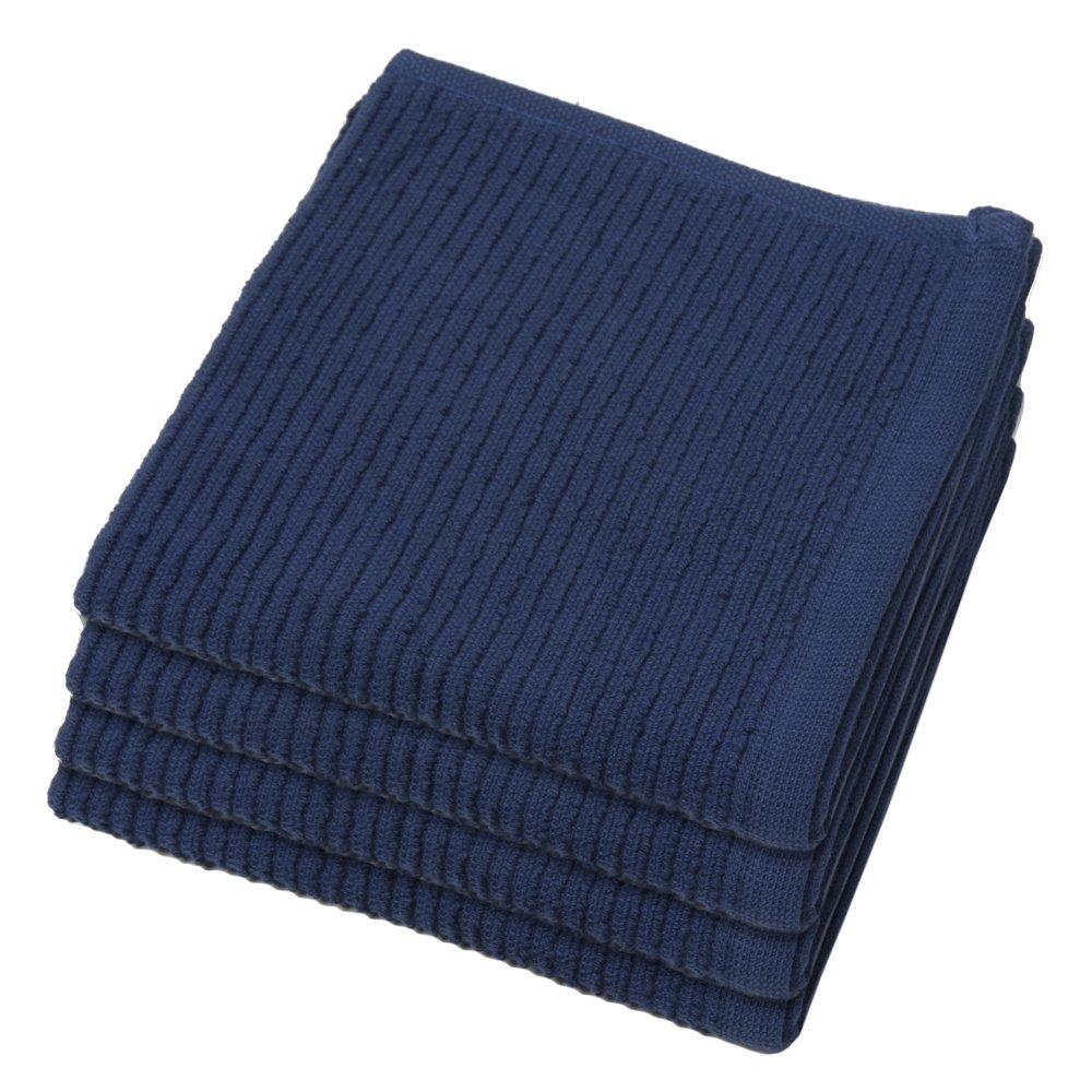 Now Designs Ripple Kitchen Dishcloth, Set of 4, Indigo Blue