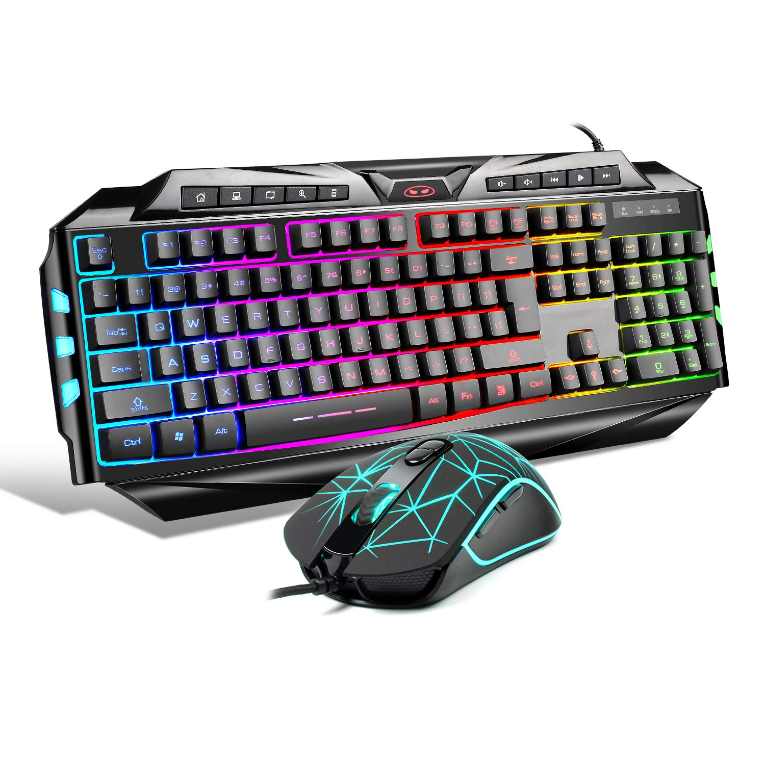 Gaming Keyboard and Mouse Combo,MageGee GK710 Wired Backlight Keyboard and Gaming Mouse Combo,PC Keyboard and Adjustable DPI Mouse for PC Laptop MAC