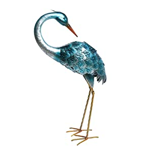 Kircust Garden Solar Lights Outdoor Crane Statue Decor, Metal Heron Solar Powered LED Light for Patio Backyard Pathway Lawn Yard Art Sculpture Decorations, 27.55-Inch, Blue