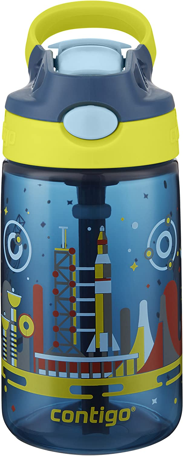 Contigo 2004942 Water Bottle, 14 oz, Nautical with Space Station