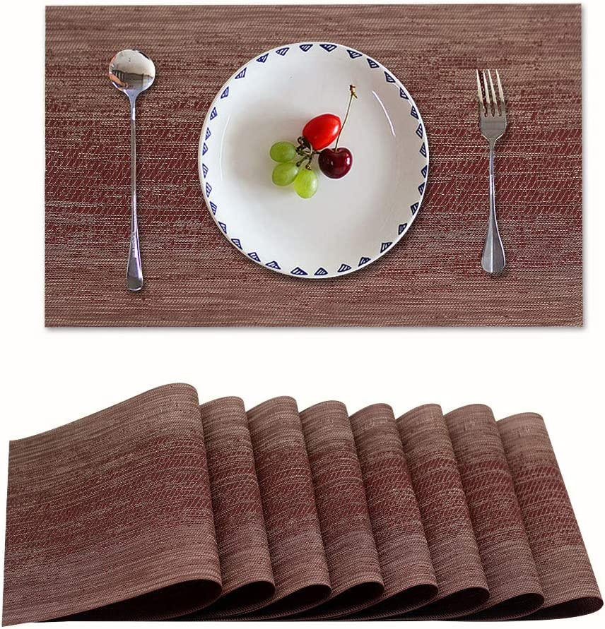 Candumy Red Table Mats Set of 8 Washable placemats for Dining Table,Heat Stain High Temperature Resistant Non-Skid Insulation PVC Place mats for Kitchen(8,Red)