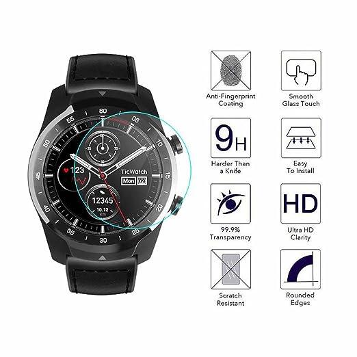 YANSHG® para Ticwatch Pro Reloj El Protector de Cristal Templado de la Pantalla, Anti-rasguña el Protector de Cristal Templado 9H Ultra Claro: Amazon.es: ...