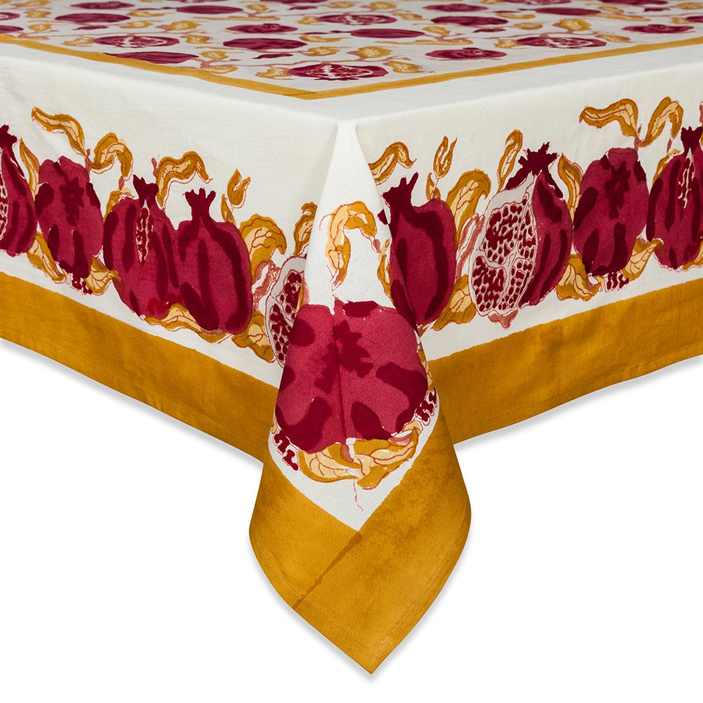 Couleur Nature Pomegranate Tablecloth, 71-inches by 128-inches, Yellow