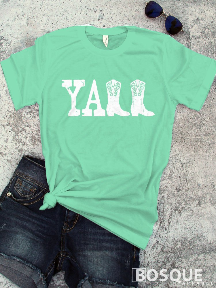 YALL Boyfriend Style T-Shirt/Adult Shirt Tee Top Distressed Country Southern Style Tee Y'all Boots Shirt - Ink Printed