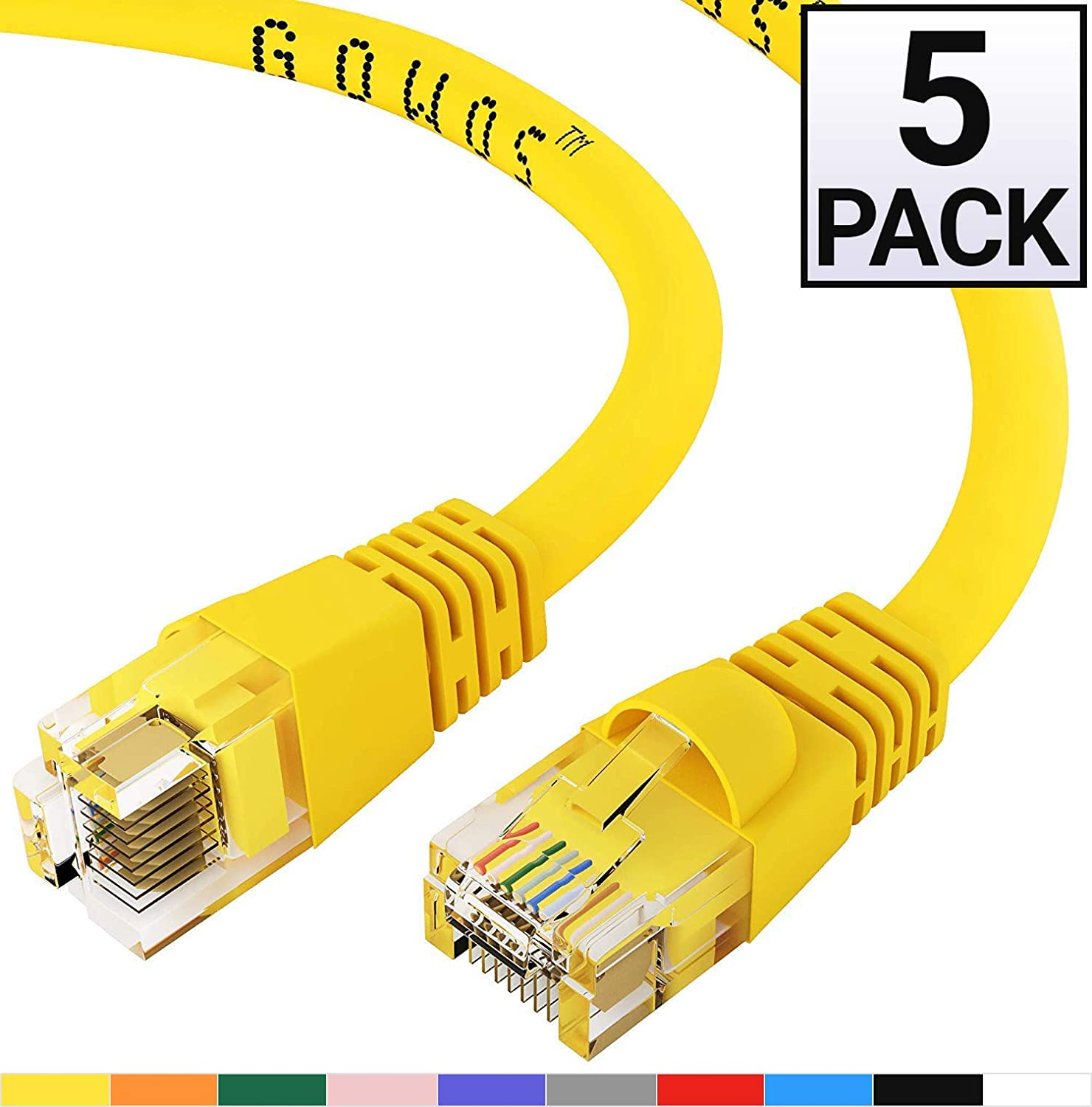 Computer Network Cable with Snagless Connector 10 Feet - Pink UTP Available in 28 Lengths and 10 Colors GOWOS 20-Pack RJ45 10Gbps High Speed LAN Internet Patch Cord Cat5e Ethernet Cable