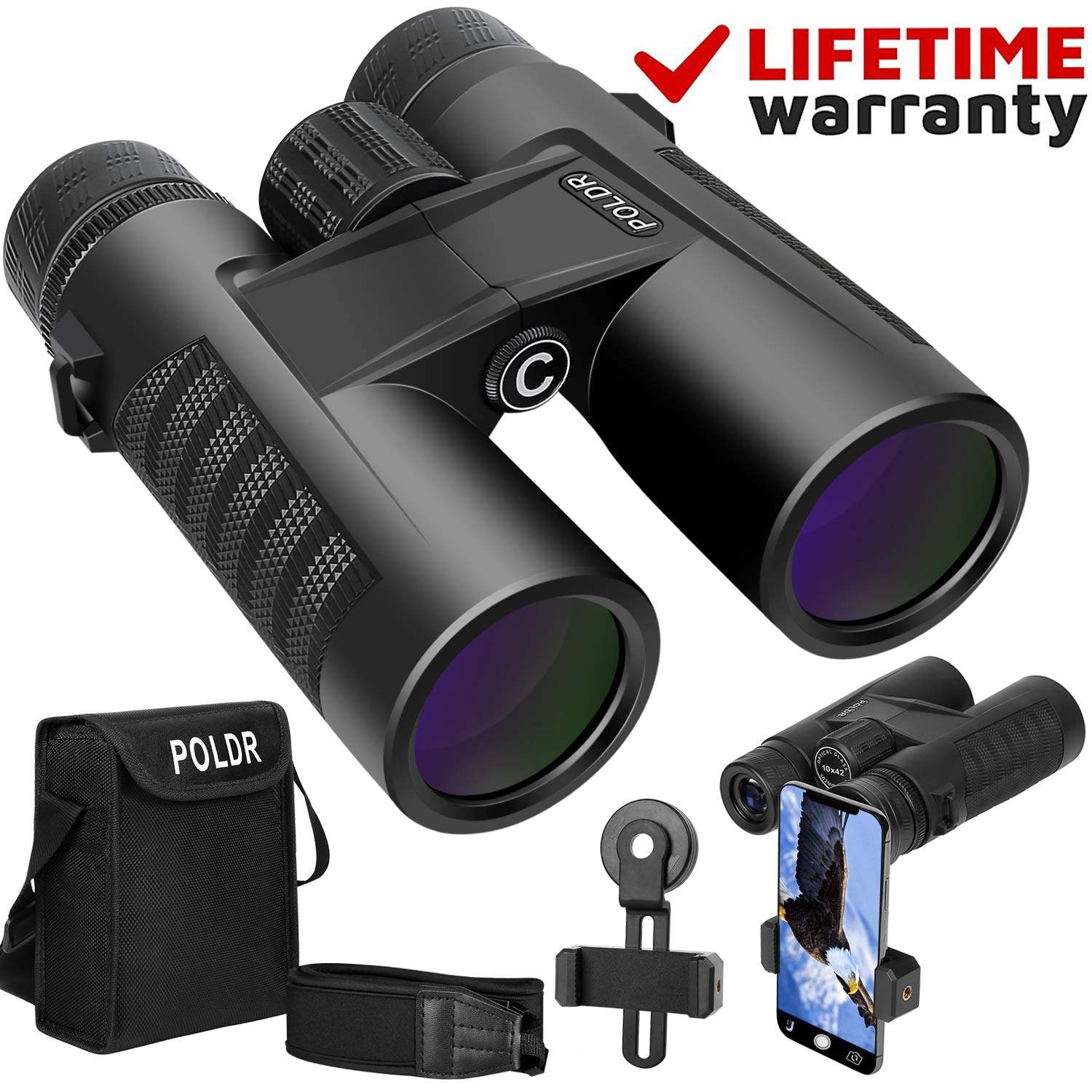 POLDR 10x42 Powerful Full-Size Binoculars for Adults, Waterproof Compact HD Binoculars for Hunting Concerts Bird Watching Travel Hiking BAK4 Prism FMC Lens-with Smartphone Adapter Strap Carrying Bag