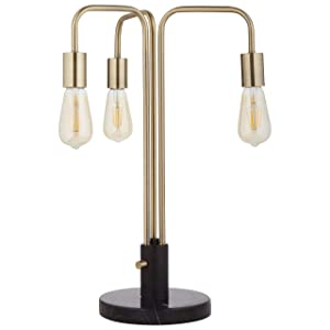 "Rivet Theory Edison Bulb 3-Arm Table Lamp, With Bulbs, Black and Brass, 21.5"" x 14"" x 14"""