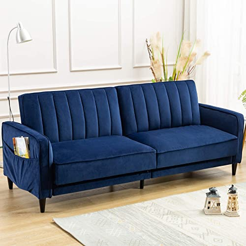 ANJ Convertible Sofa Bed, Modern Tufted Velvet Fabric Futon Sofa Fold Up Down Recliner Couch Navy