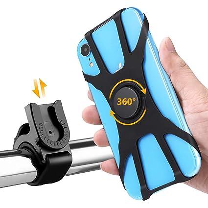 HOMPO Universal Soporte Movil Bicicleta, Soporte Desmontable Manillar de Silicona con Rotación 360 para iPhone, Samsung y Otros Dispositivos