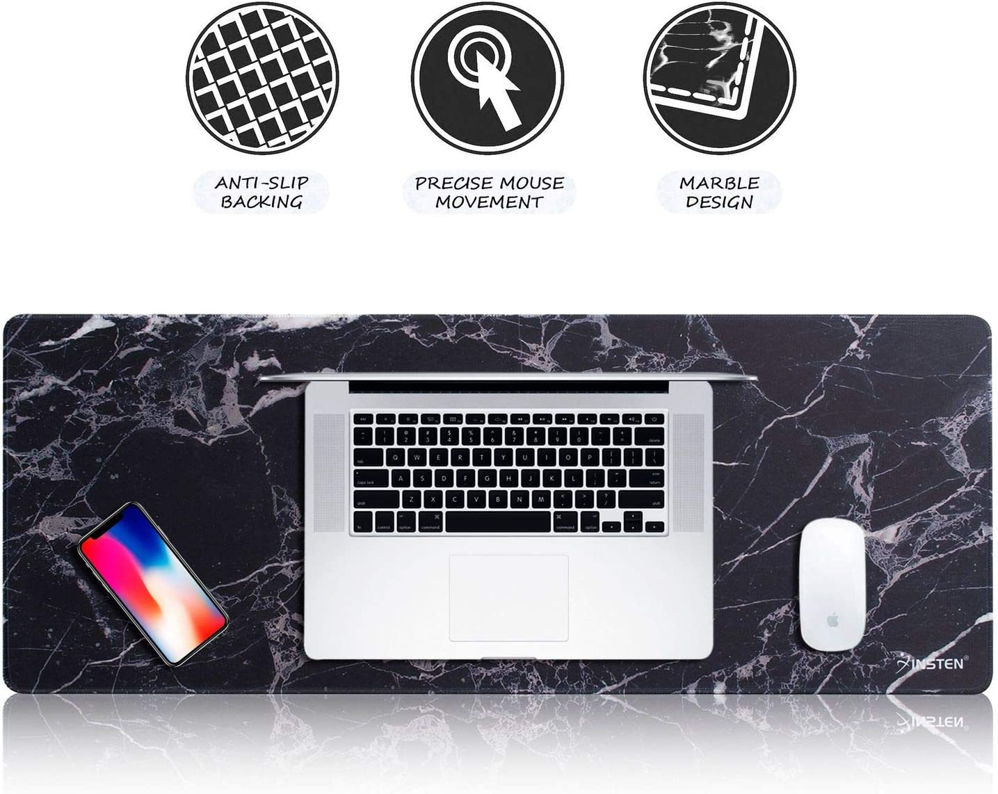 "Insten Extra Large Mouse Pad, Marble Extended Computer Mouse Pad XL XXL for Desktop, with Waterproof Coating, Non-Slip Base, Silky Smooth Surface, Durable Stitched Edges - 31.5"" X 12"", Black Marble"