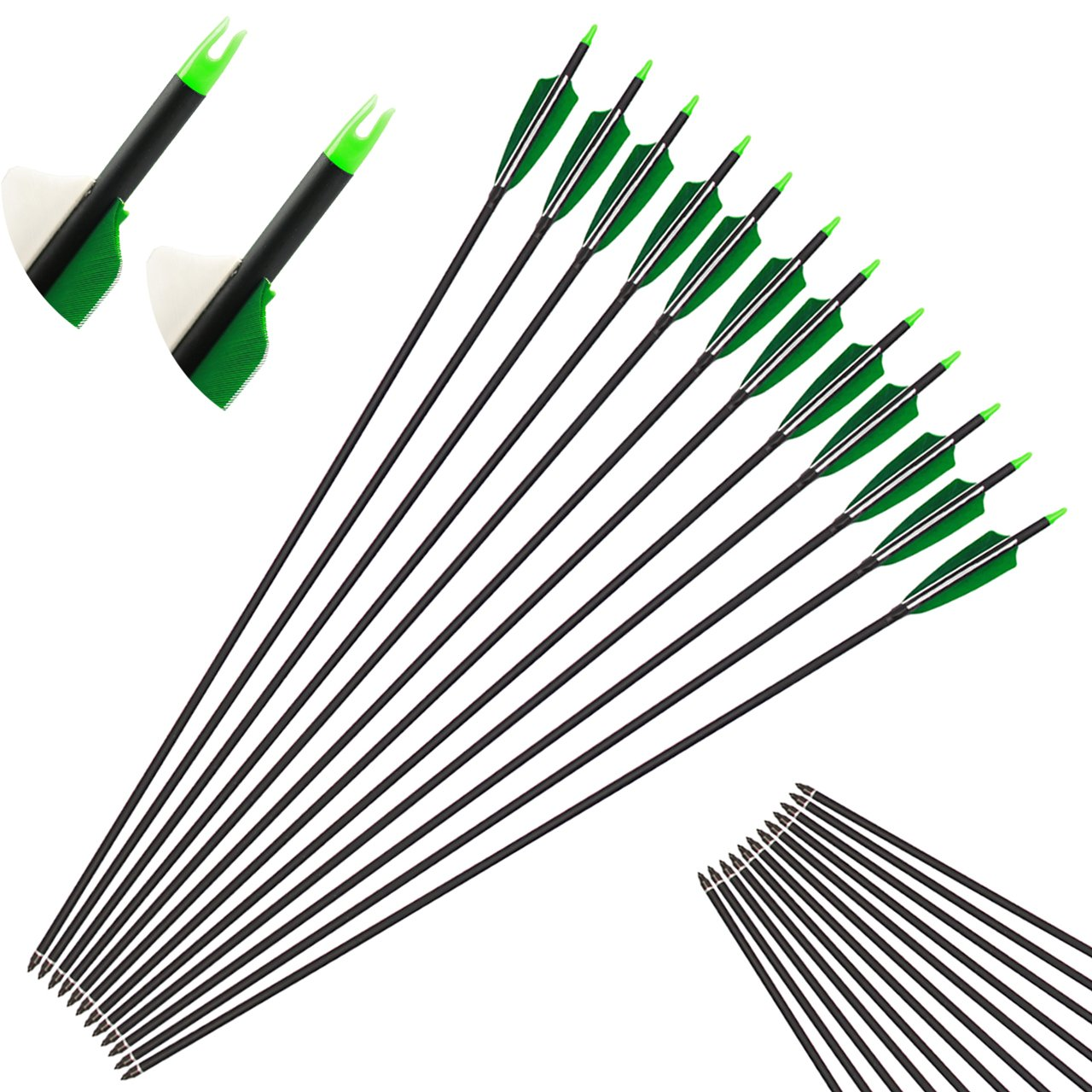 kaimei 30 Inch Carbon Arrows Screw-in Points Replaceable Tips Recurve Bow Compound Bow practice Hunting (Pack of 12)