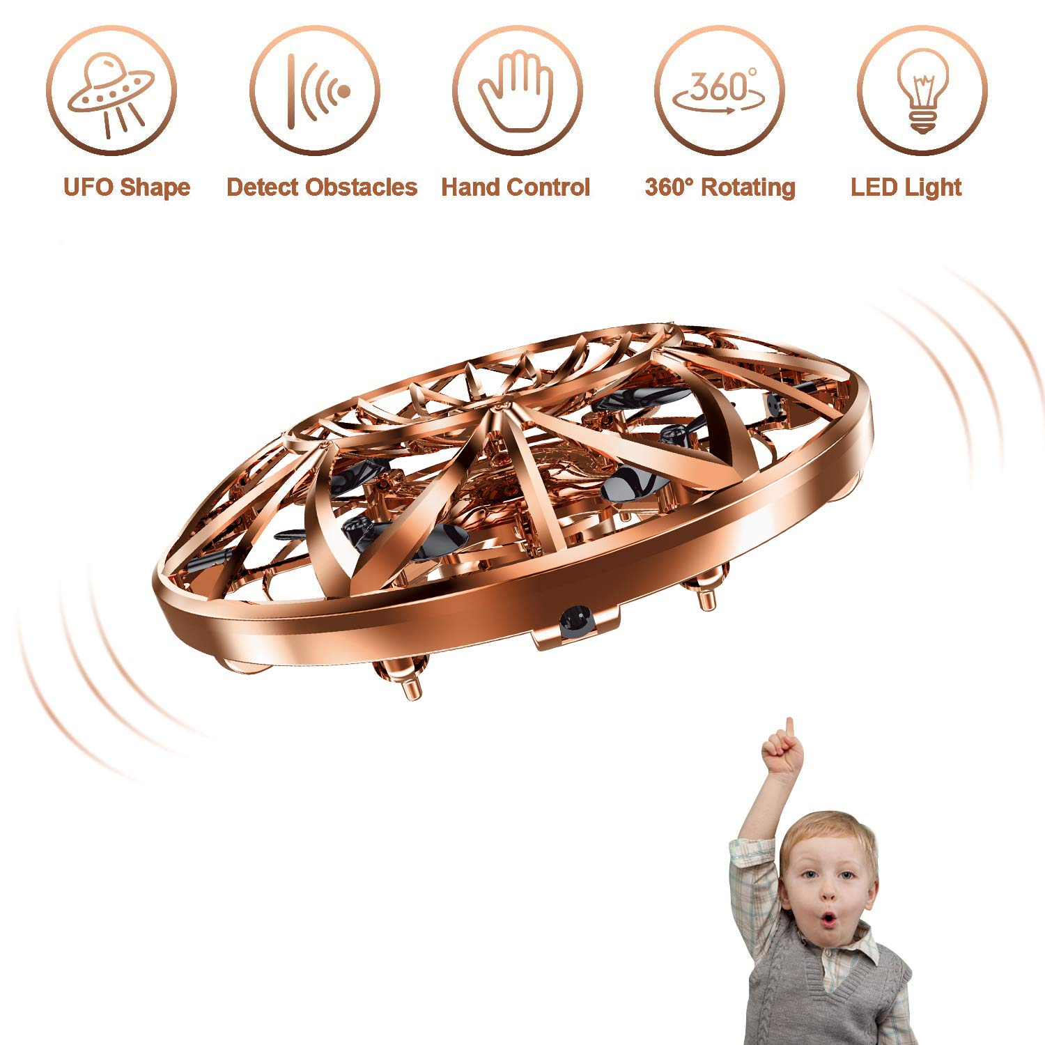 Hand Operated Drones for Kids,Hands Free Mini Drone Flying Ball Toys for Kids,Gift for Boy or Girl(Gold) by Tagitary