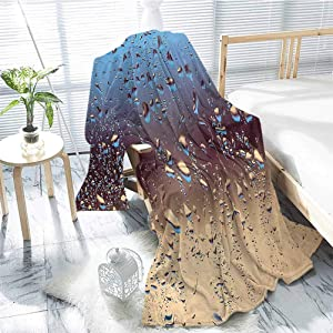 jecycleus Rain Children's Blanket Close Up Rain Drops on Glass Natural Sprays Sphere Contrasting Colors Picture Lightweight Soft Warm and Comfortable W91 x L60 Inch Blue Tan Brown