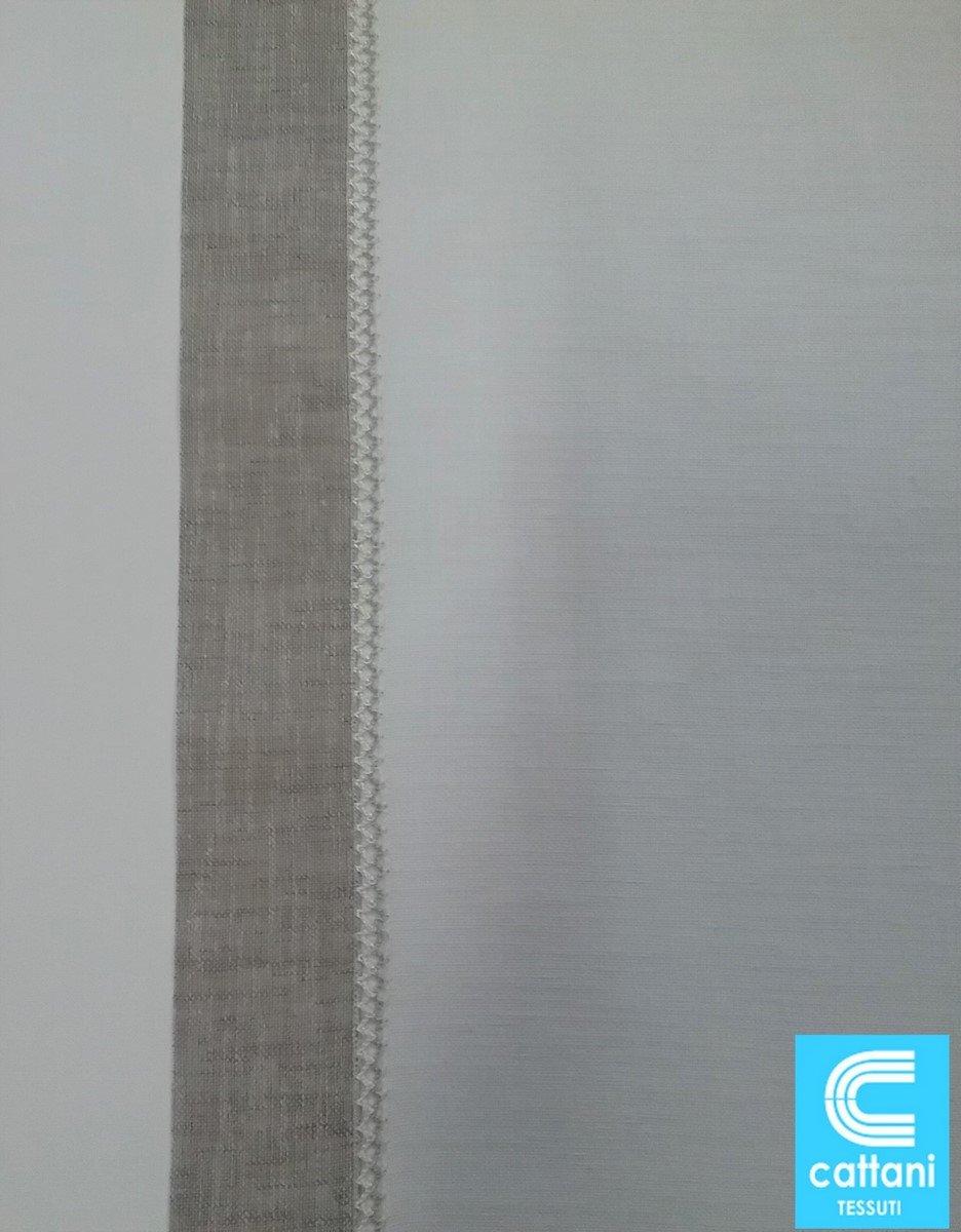 40 cm mauro Tende A Pannello Colore Bianco con Bordo Grigio Tessuto 100/% Poliestere Effetto Lino Vendita A Metro Larghezza Cm 40-45-50-60-65-70-80-90