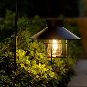 Solar Metal Hanging Lantern with Shepherd Hook and Wall Hanging Ourdoor Led Garden Lights