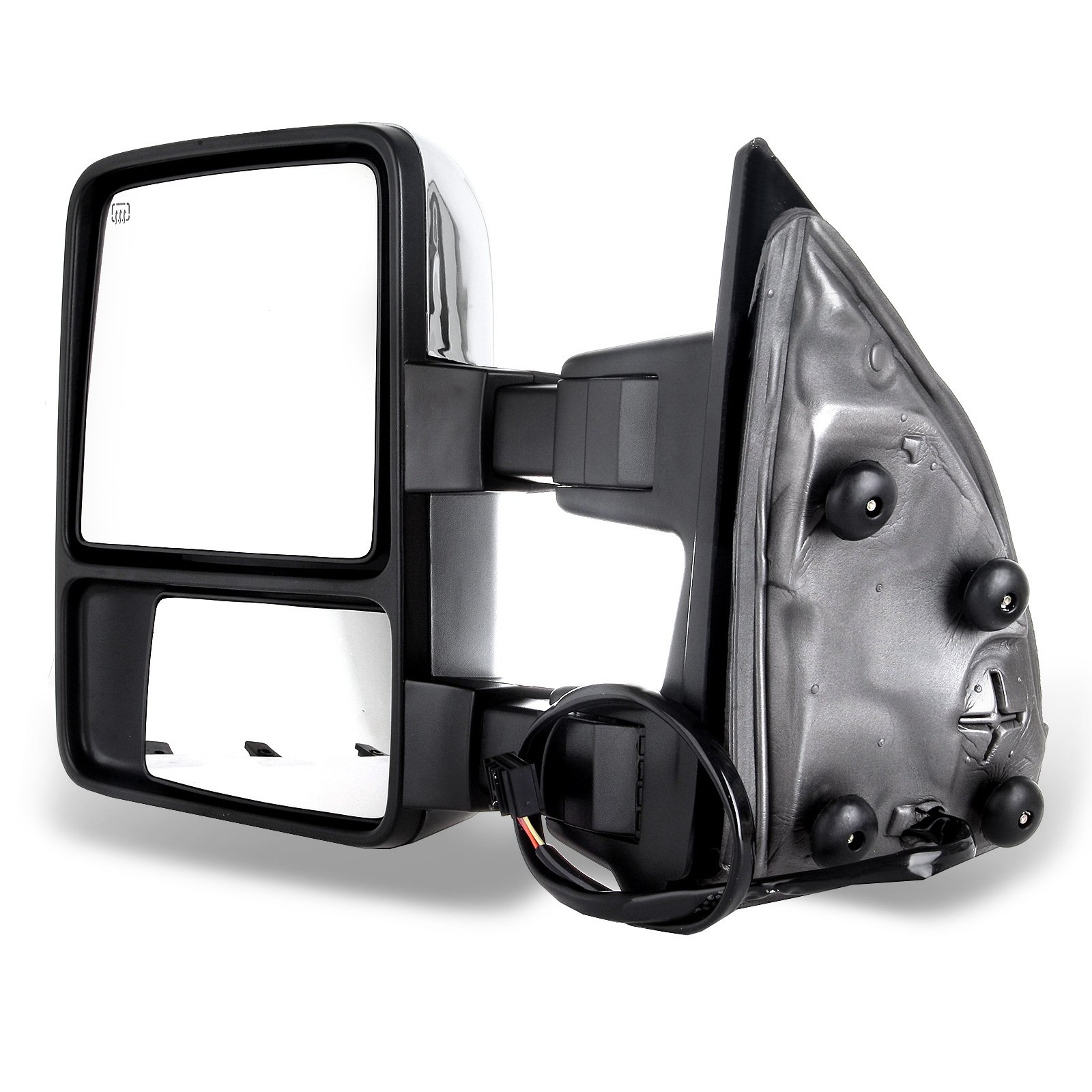 SCITOO fit Ford Towing Mirrors Chrome Rear View Mirrors fit 2008-2016 Ford F250 F350 F450 F550 Super Duty Truck Larger Glass Power Control, Heated Turn Signal Manual Extending Folding by SCITOO (Image #3)