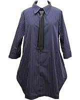 【Deorart ディオラート】ネクタイ付 ロング丈 七分袖 ストライプシャツワンピース DRT2270