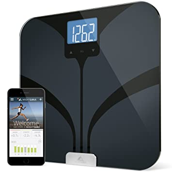 Weight Gurus Bluetooth Smart Connected Body Fat Scale w/ Large Digital Backlit LCD, Precision/Accurate Measurements include: BMI, Body Fat, Muscle Mass, Water Weight, and Bone Mass