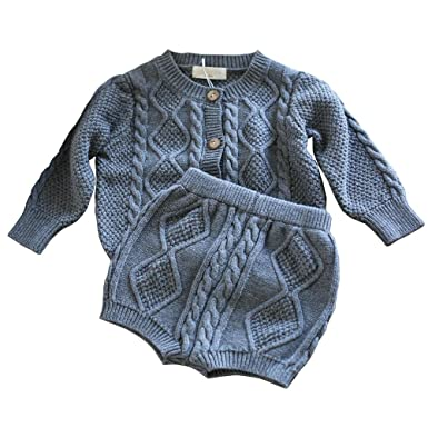 2efada519674 Amazon.com  Wennikids Baby Girls   Boys Twist Knit Long-Sleeved ...