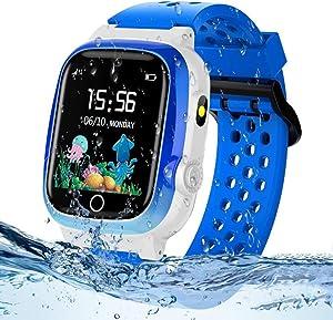 Themoemoe Kids GPS Watch, Kids Smartwatch with GPS Tracker Waterproof Phone Smartwatch 1.44 SOS Touch Screen Flashlight Camera Math Game (Blue)