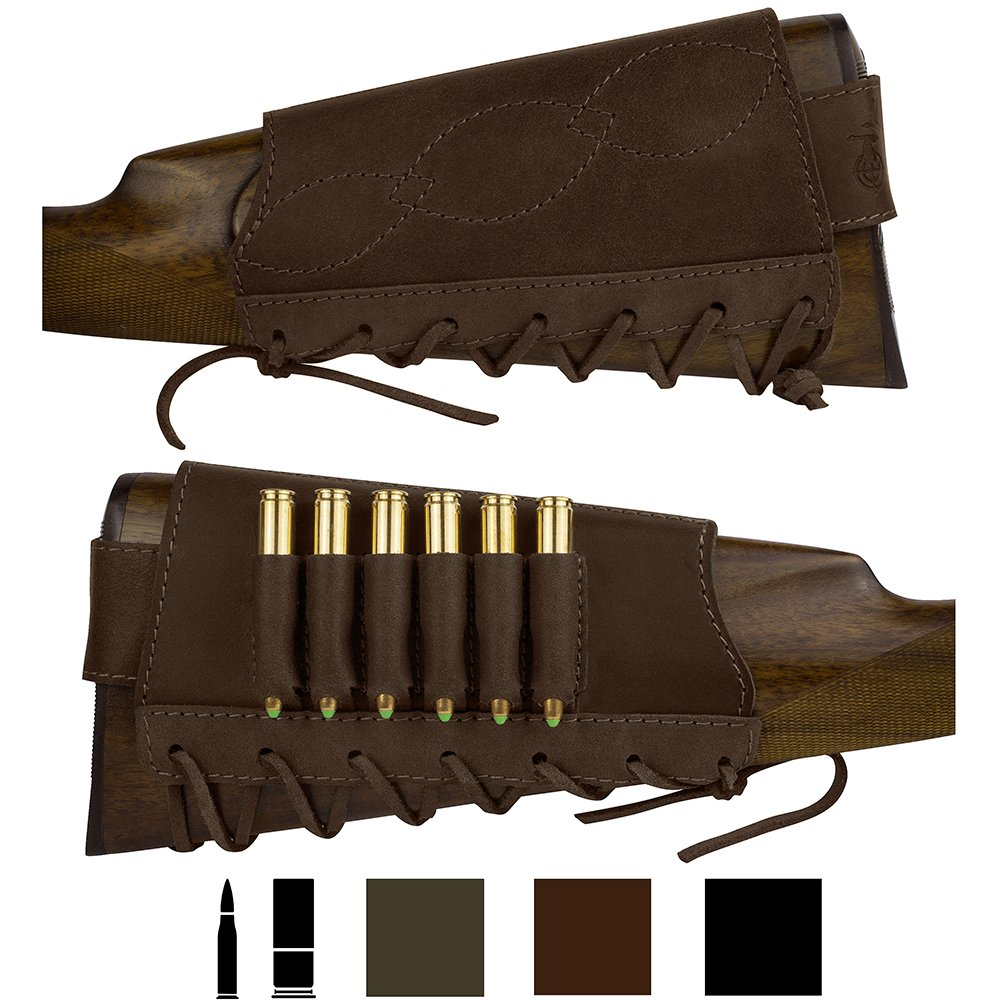 BronzeDog Adjustable Leather Buttstock Cartridge Ammo Holder for Rifles 12 16 Gauge or .30-30 .308 Caliber Hunting Ammo Pouch Bag Stock Right Handed Shotgun Shell Holder (Brown, 7.62 Caliber) by BRONZEDOG