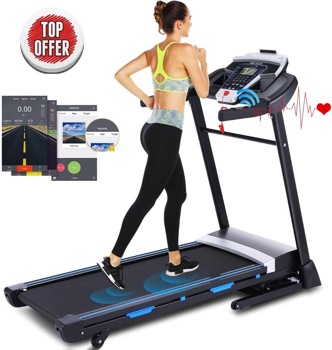 ANCHEER Folding Treadmill, 3.25HP Automatic Incline Treadmill Walking Jogging Running Machine with Bluetooth Speaker and APP Control for Home Gym