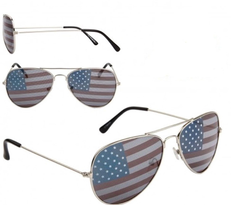 MJ Boutique's Patriot American Flag Inprint Lenses Silver Aviator Sunglasses