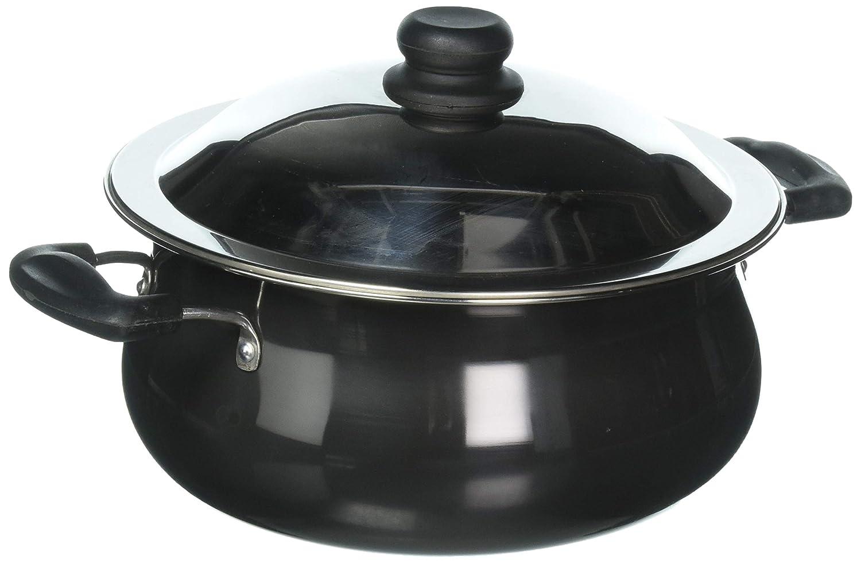 Vinod Pearl Hard Anodised Handi with Stainless Steel Lid 6.5 L Black