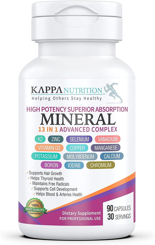 Vitamin K2, Vitamin D3, Zinc, Selenium, Vanadium, Copper, Manganese, Potassium, Molybdenum, Calcium, Chromium, Iodine, Boron, (90 Capsules), Mineral 13 in 1 Advanced Complex, from Kappa Nutrition.