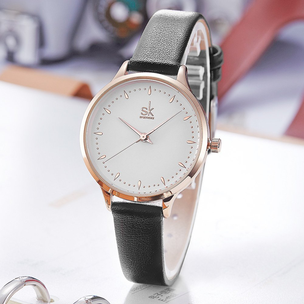 Amazon.com: SK SHENGKE Casual Leather Watches Women Simple Clock Rose Gold Case Female Quartz Watch Montre Femme (K8033-Black): Watches