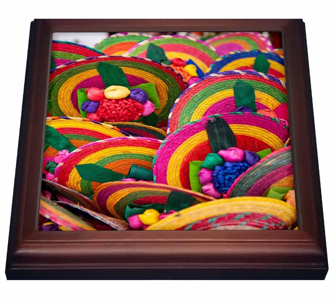 3dRose trv_141562_1 Mexico, Cozumel, Woven Fans, Mexican Souvenir Trivet with Tile, 8'' x 8''