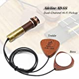 AD-88 Dual-Channel Acoustic Guitar Ukelele Pickup, Cherry Wood Instrument AMP Transducer for Acoustic Violin Ukulele