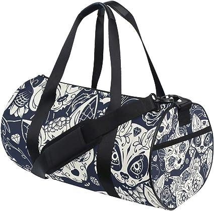 Travel Duffels Skull Cat Duffle Bag Luggage Sports Gym for Women /& Men