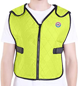Climafusion Cooling Vest for Women & Men Adjustable Ice Vest Breathable Comfort Psyctic Vest Gear for Women & Man for Fishing Cycling Running Cooking Wearer Stays Cool and Dry (L/XL, Green)