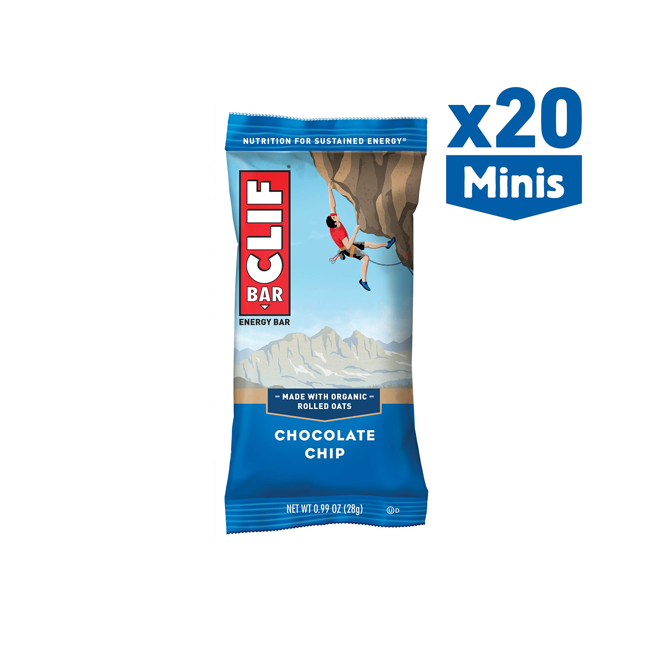 CLIF BAR - Mini Energy Bar - Chocolate Chip - (2.4 Ounce Snack Bar, 20 Count)