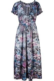 Beauty7 Böhmen Stil Tief V Ausschnitt Kurzarm Maxikleider mit Schmetterling  Motiv Langes Sommerkleider Strandkleider Abendkleid Plus 1e6250c696