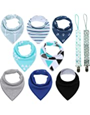 Conleke Baby Bandana Drool Bibs,Unisex 8 Packs Baby Bibs for Drooling and Teething,100% Organic Cotton,Soft and Absorbent,Hypoallergenic - Gift Set for Boys and Girls of 0-24 Months (B)