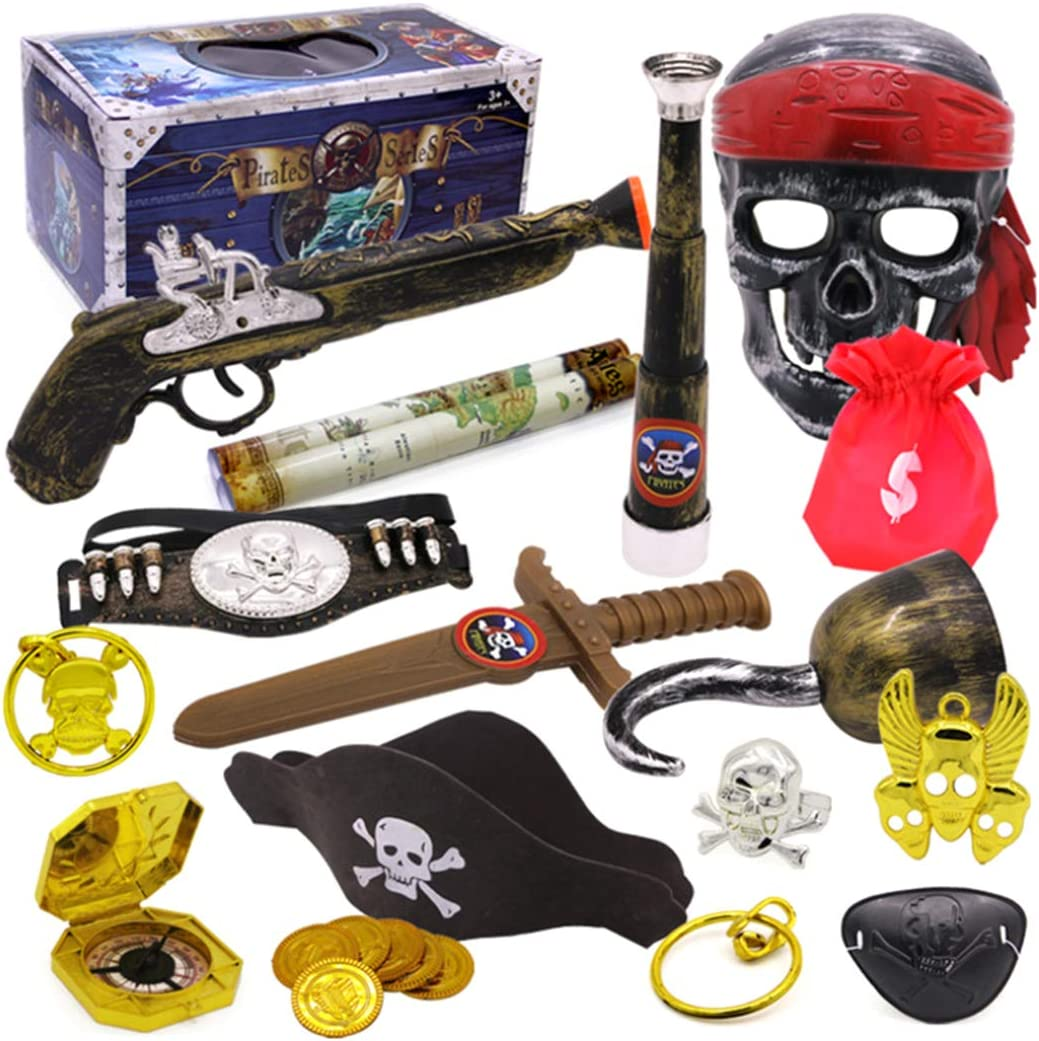 PHYNEDI Niños Pirata de Juguete con Accesorios Infantiles Juguetes Kit Pirate con Catalejo, Mapa del Tesoro, Brújula, Anillo de Calavera, Pendientes