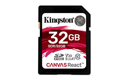 Kingston SDR/32GB Tarjeta Sd Canvas React de 32 Gb, 32 gb, Negro